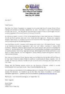 Click the image to read the <br />Letter from New City Rotary President Jesse Gaber